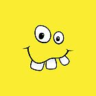 Silly, goofy smiley face with big teeth yellow iPhone case by Mhea