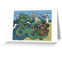 Teddy Bear And Bunny - Epic Battle Greeting Card