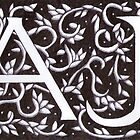 William Morris Inspired AJ Monogram by Donna Huntriss