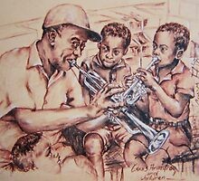 Louis Armstrong and children/jazz by Sevim  AYTEMİZ GÜLER