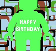 Retro Minifig Art Happy Birthday Greeting Card by Customize My Minifig by ChilleeW