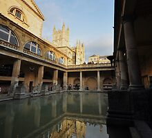 Reflections of Bath Abbey by Victoria  Eastwood
