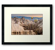 Hot-air balloons flying over Cappadocia Framed Print
