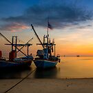 Two Boat in sunset by arthit somsakul