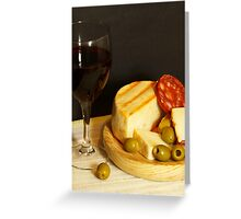 Red, Cheese, Sausage and Olives Greeting Card