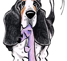 Black/Tan Basset Hound Lets Play by offleashart