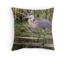 Great Blue Heron on a log Throw Pillow