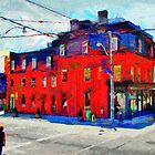 Red Building on King Street East Toronto by DiNovici