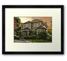 Stucco House in Autumn Framed Print