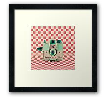 Mint Retro Camera on Red Chequered Background  Framed Print