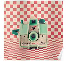 Mint Retro Camera on Red Chequered Background  Poster