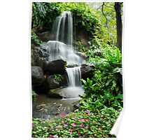 Waterfall and the beautiful flowers in the garden Poster