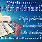 Welcome Banner For Art With Scriptures for Calenders & Cards  by aldona