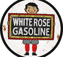White Rose Gasoline. Boy with slate vintage sign. Rusted version by htrdesigns