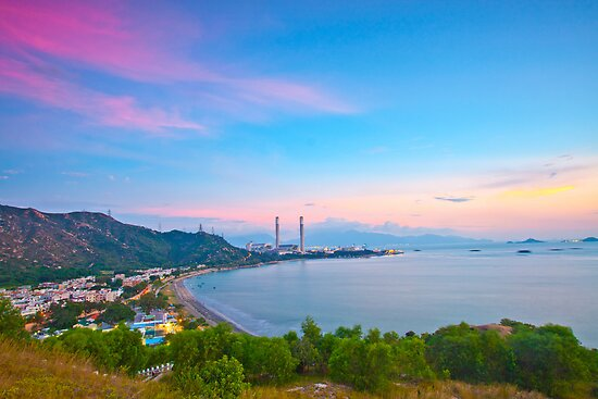 Power station along the seashore at sunset time, Hong Kong. by kawing921