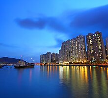 Hong Kong downtown at night by kawing921