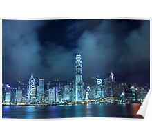 Hong Kong skyline in cyber toned at night Poster
