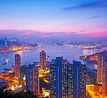 Hong Kong at sunset moment by kawing921