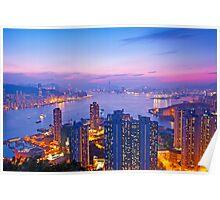 Hong Kong at sunset moment Poster