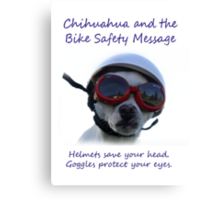 Chihuahua and the Bike Safety Message Tee and Sticker Canvas Print