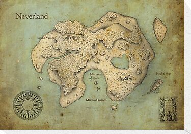 Peter Pan Neverland Map by Craig Wetzel