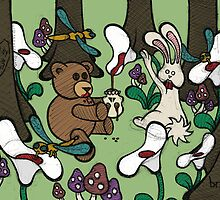 Teddy Bear And Bunny - The Blood Flowers by Brett Gilbert