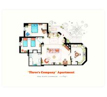 Three's Company Apartment Floorplan Art Print