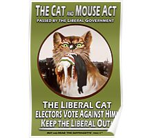 Vintage British Suffragette Cat and Mouse Act  Poster Poster