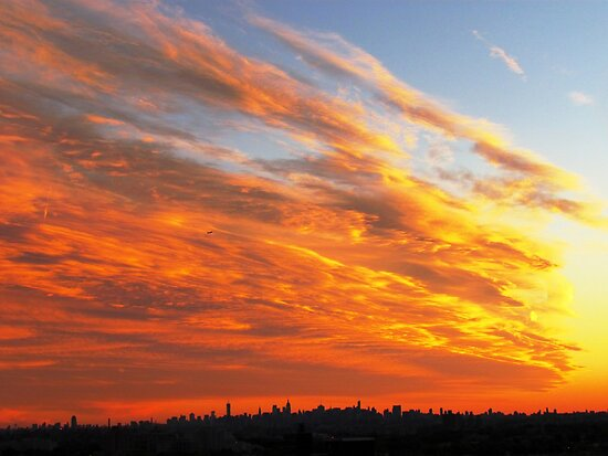 Firey Sky - New York City by Alberto  DeJesus