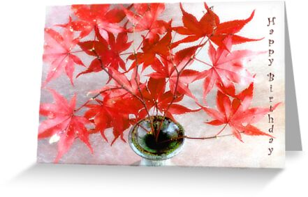 Maple Leaves Happy Birthday Card by LouiseK