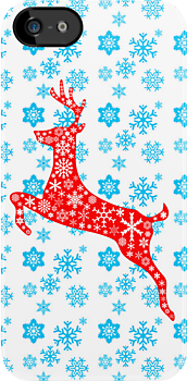 Christmas red reindeer and snowflakes by nadil