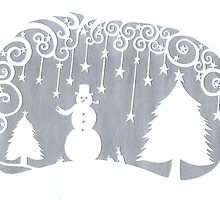 swirly snowman - silver by MrsTreefrog