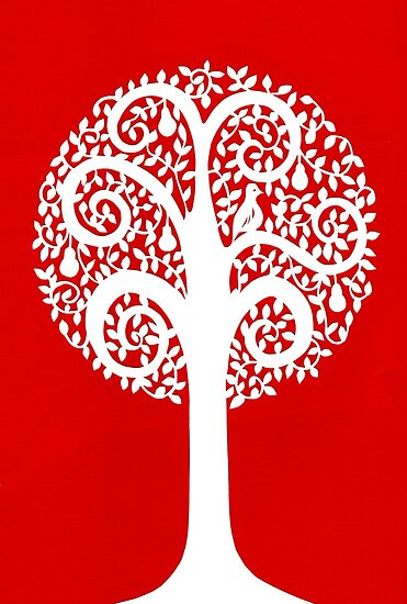 partridge in a pear tree - red by MrsTreefrog