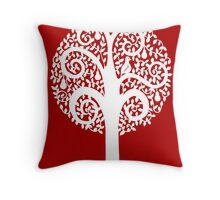 partridge in a pear tree - dark red Throw Pillow