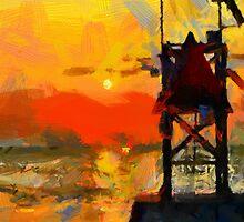 Sunset on Atlantic Ocean by DiNovici