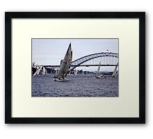 Yachts and Harbour Bridge with Opera house in background, Sydney, Australia  Framed Print