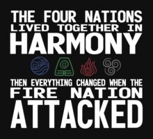 The Four Nations - Avatar: The Last Airbender (White Text) by VRex