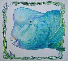 Bump Headed Parrot Fish Head Study by Cary McAulay