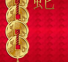 Chinese Year Of The Snake Across The Miles Greeting Card by Moonlake