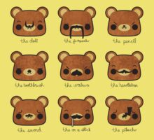 Bear with many moustaches Kids Clothes