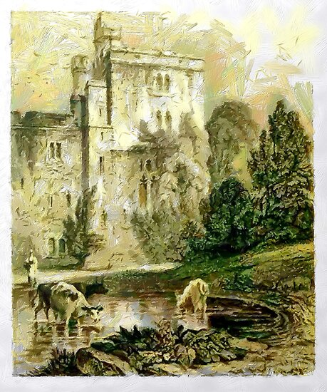 A digital painting of Wressle Castle, Yorkshire, England by Dennis Melling
