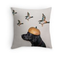 Halloween Dog with Flying Ducks Throw Pillow