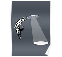 Banksy Style Dog Catching Frisbee (flying saucer) Poster