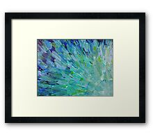 SEA SCALES - Beautiful BC Ocean Theme Peacock Feathers Mermaid Fins Waves Blue Teal Abstract Framed Print