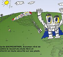 Euroman et Felix BAUMGARTNER caricature by Binary-Options