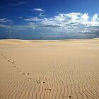 Footprints on a sand blow by Greta van der Rol
