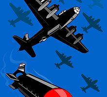 World War Two Bomber Airplanes Drop Bomb Retro by patrimonio