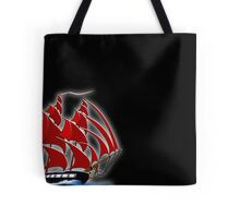 Clipper Ship Indian Queen on black Tote Bag