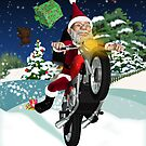 Boyfriend Motorcycle Santa With Flying Gifts And Winter Scenery by Moonlake
