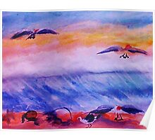 Seagulls in the surf, watercolor Poster